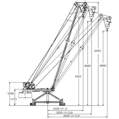 Кран стреловой поворотный Мастер-1000кг-100м