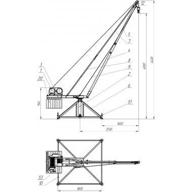 Кран стреловой поворотный МАСТЕР г/п=500кг Н=60м